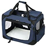 SONGMICS Hundebox Transportbox Auto Hundetransportbox faltbar Katzenbox Oxford Gewebe dunkelblau M 60 x 40 x 40 cm PDC60Z
