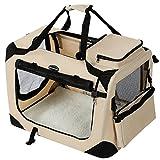SONGMICS Hundebox Transportbox Auto Hundetransportbox faltbar Katzenbox Oxford Gewebe beige M 60 x 40 x 40 cm PDC60W