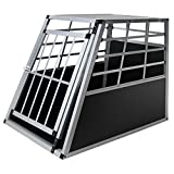 Jalano Hundetransportbox XXL Alu für Transport großer Hunde Hundebox Auto Gitterbox geneigte Vorderseite Reisebox für Auto Kofferraum