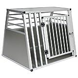 EUGAD Hundebox Autobox Transportbox Alubox Reisebox Gitterbox Alu Box Aluminium 1 Türig 80 * 65 * 65cm