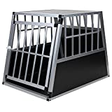 Jalano Hundetransportbox Alu Größe XXL schwarz/Silber - Gitterbox Aluminium Auto Transportbox große Hunde - Hundebox für Kofferraum