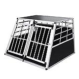 WIS Hengda Alu Hundetransportbox Doppel Türen Hundebox Autotransportbox Hundekäfig für Den Transport Extra Große Hunde