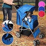 Leopet Hundebuggy für Hunde bis 15 kg | aus wasserdichtem Material, mit Klappfunktion und praktischer Einkaufstasche, Farbwahl | Pet Jogger, Tiere Wagen, Buggy Stroller (Blau)