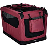 Amazon Basics - Hochwertige Haustier-Transportbox, faltbar, weich - 76 cm, ROT