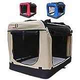Hundetransportbox faltbar Transportbox für Hunde Hundebox Auto - Dogi Kennel - 6 Größen - 3 Farben (XL (81 x 58 x 58 cm), Beige)