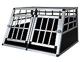 Petigi Hundebox Hunde Alu Auto Tranportbox Groß XXL Aluminium Kofferraum Transport Box für Hund Dog Autobox 89x50x69 cm Haustier Reisen Van Kombi PKW Käfig