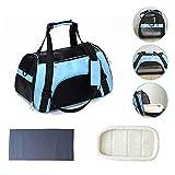 N\C Transporttasche für Katzen Hunde Comfort Fluggesellschaft zugelassen Travel Tote Weiche Seiten Tasche für Haustiere (Blau)