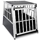 EUGAD 0046HT Hundebox Transportbox Hundetransportbox Alu Schwarz 85 x 65 x 69 cm
