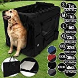 Leopet Hundebox aus Stoff - faltbar, zusammengefaltet tragbar, abwaschbar, Farbwahl, Größenwahl S-XXXXL - Hundetransportbox, Auto Transportbox, Katzenbox für Hunde, Katzen und Kleintiere (S, Schwarz)