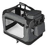 EUGAD 0326GL Hundebox faltbar Hundetransportbox Auto Transportbox Reisebox Katzenbox Grau 60 x 42 x 42 cm