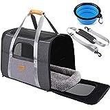 morpilot Katzentragetasche Hundetragetasche, Atmungsaktive Hundetasche Transportbox für Katze und Hund von 20 Pfund, Haustiertragetasche mit Schultergurt und Faltbare Hundenapf