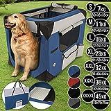 Leopet Hundebox aus Stoff - faltbar, zusammengefaltet tragbar, abwaschbar, Farbwahl, Größenwahl S-XXXXL - Hundetransportbox, Auto Transportbox, Katzenbox für Hunde, Katzen und Kleintiere (S, Blau)